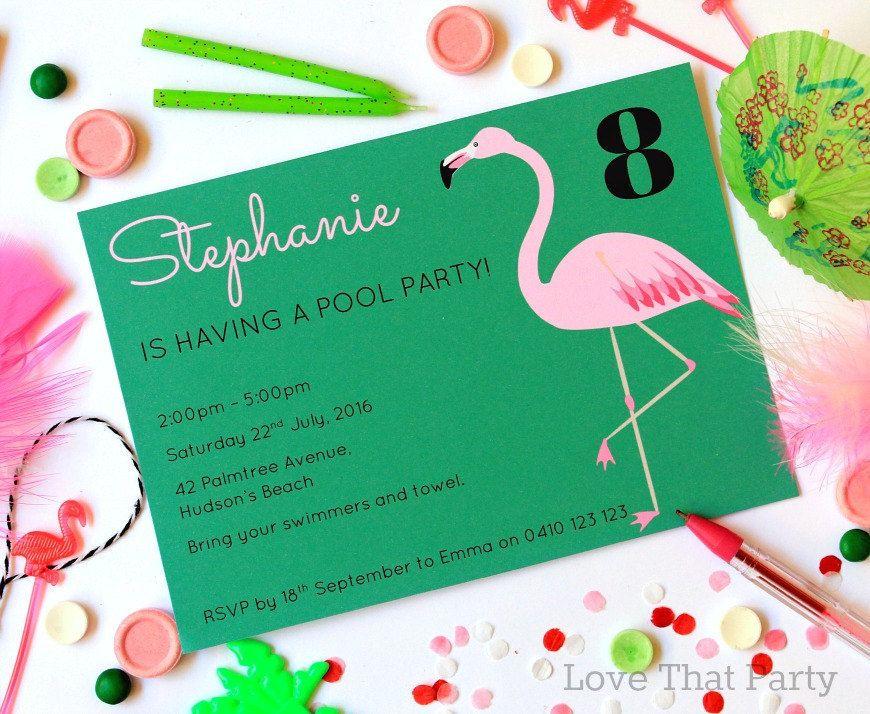 birthday party invitations printable%0A FLAMINGO INVITATION  POOL Party Invitation  Pink Flamingo Invite  Printable  Invitation  Personalized  Flamingo Birthday Party  Teen  U Print