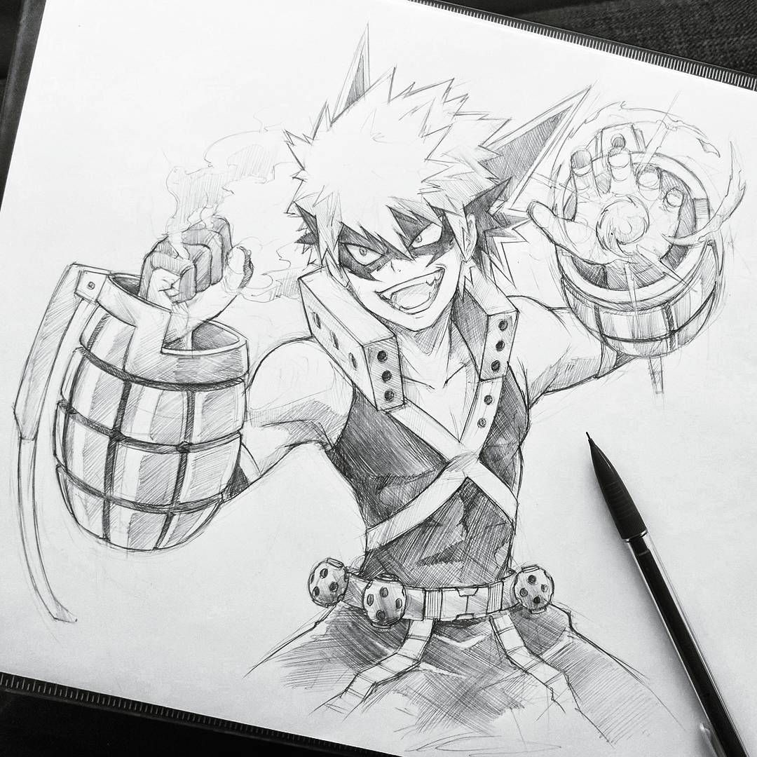 Bakugou Katsuki In 2020 Anime Character Drawing Anime Sketch Sketches
