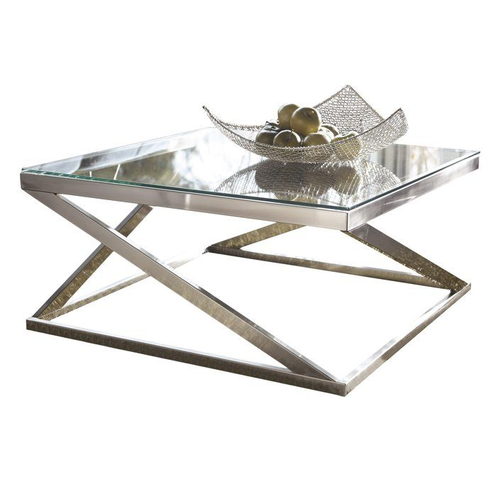 A Chic Centerpiece For Any Space, This Eye Catch Coffee Table Showcases A Brushed  Nickel Hue And A Geometric Base. Pair It With Low Seating Sofas, ...