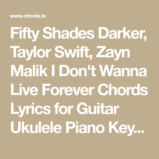 Fifty Shades Darker Taylor Swift Zayn Malik I Dont Wanna Live