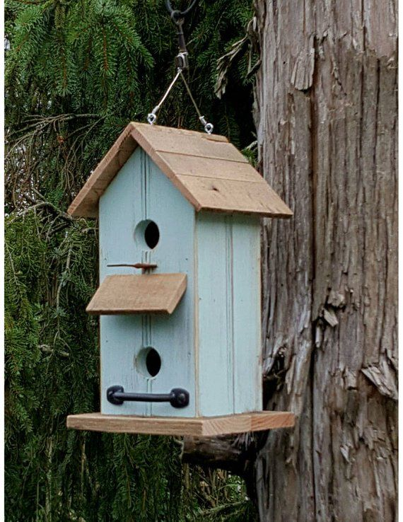 rustic wooden birdcottge garden art handmade birdhouse outdoor home rh pinterest com