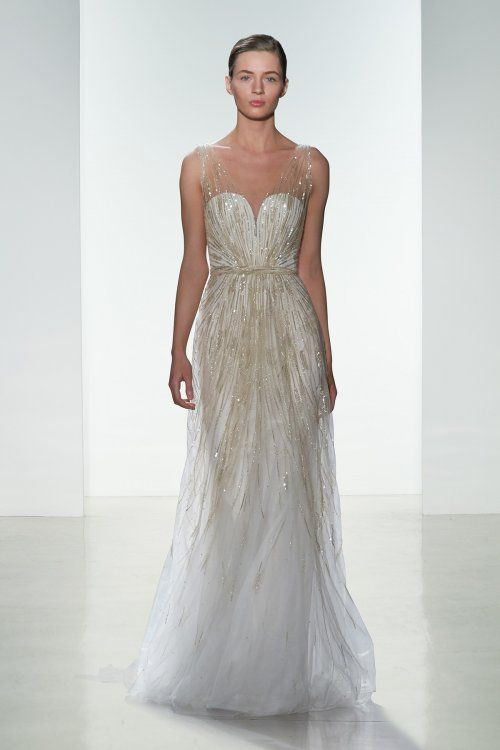 Hand beaded low V-neck slim gown. Available in Blush or Ivory.