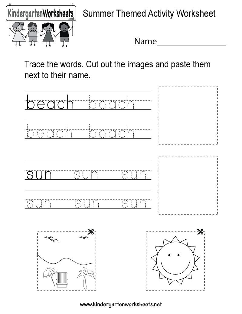 English Vocabulary Worksheets For Kindergarten