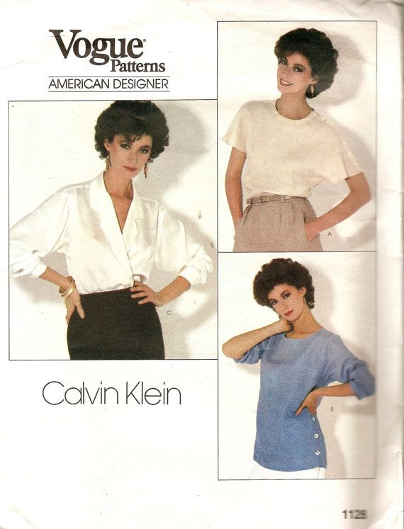 1980s Vogue - Vintage Sewing Pattern - Calvin Klein - Blouse - Top ...