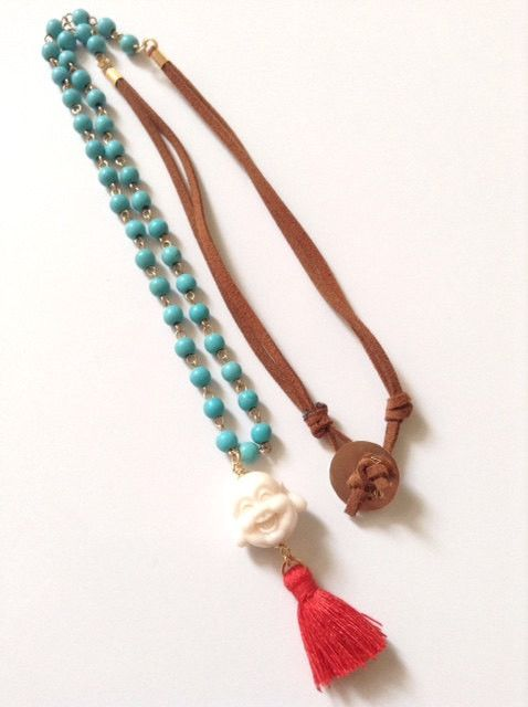 Happy Buddha Necklace Tassel necklace bohemian necklace boho necklace turquoise bohemian necklace Yoga jewelry Buddha Pendant Om Necklace