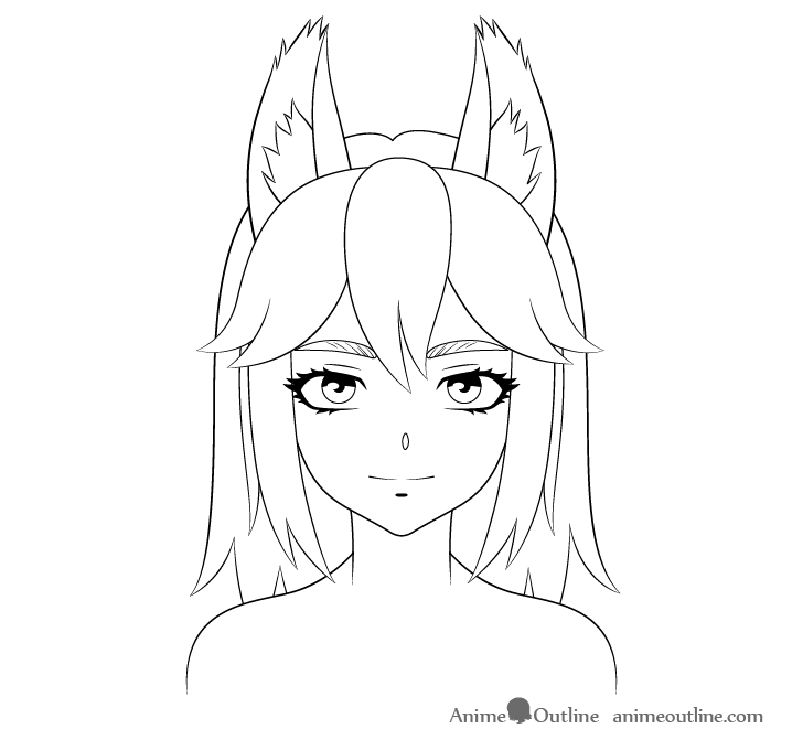 How To Draw Anime Wolf Girl Step By Step Animeoutline Anime Wolf Girl Anime Drawings Anime Wolf
