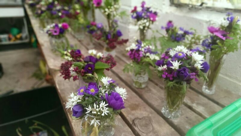 Flowers Picked From The Garden At Bradgate Manor Wedding Reception