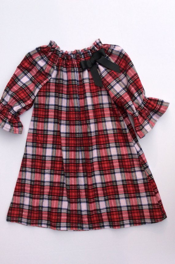 80f919e48 Red Plaid Dress/ Peasant Dress/ Tunic Top/ Christmas Dress/ 12 months -Toddler  Sizes FREE SHIPPING