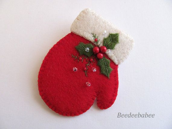 bright red holiday mitten