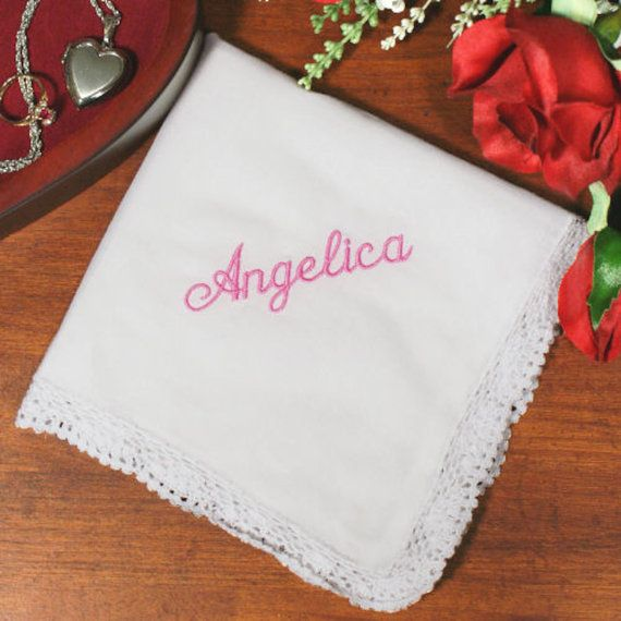 Personalized White Lace Embroidered Wedding by GiftsHappenHere