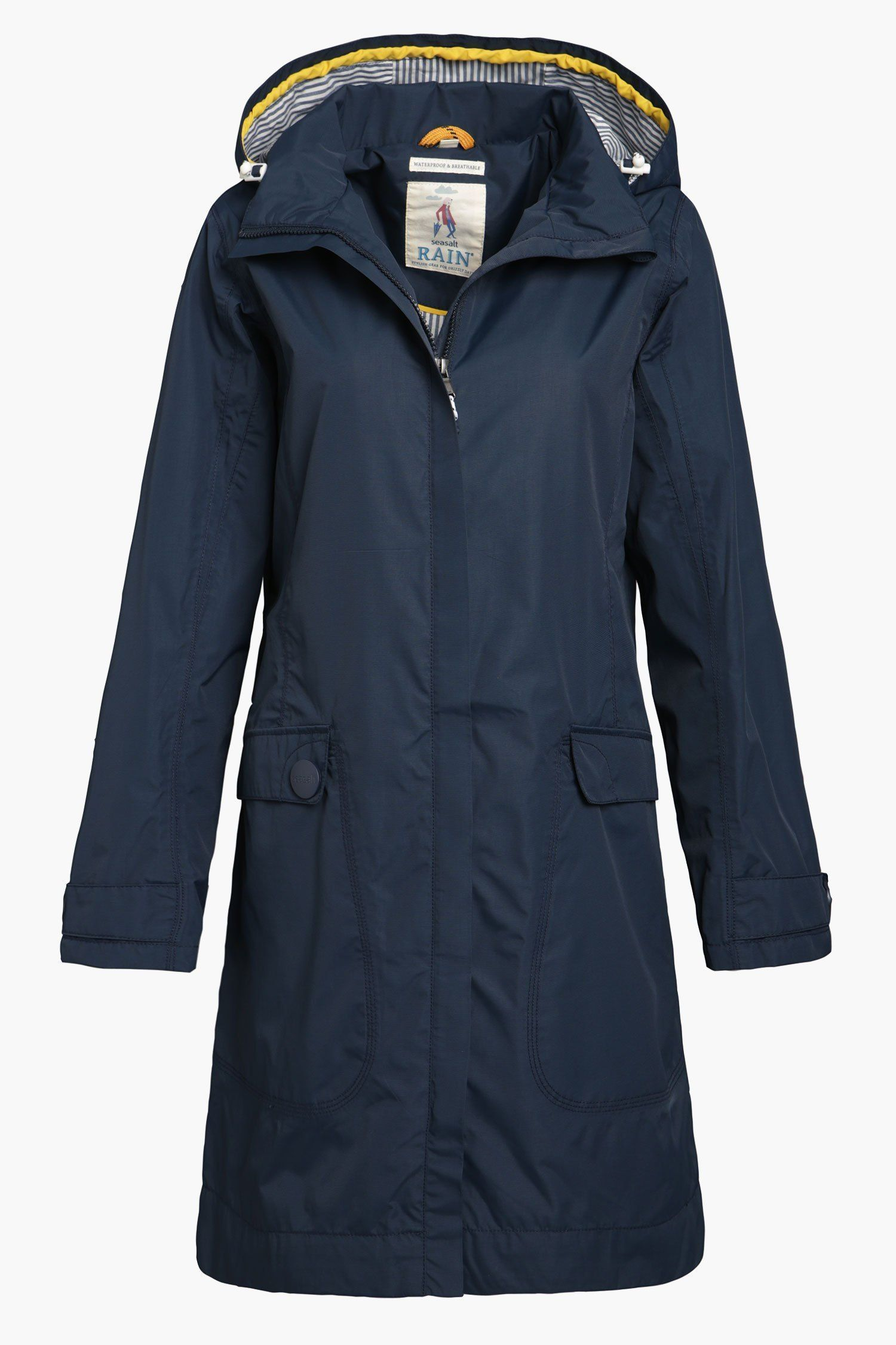 Flattering, practical Seasalt raincoat for women. Lightweight and knee  length. Waterproof, windproof