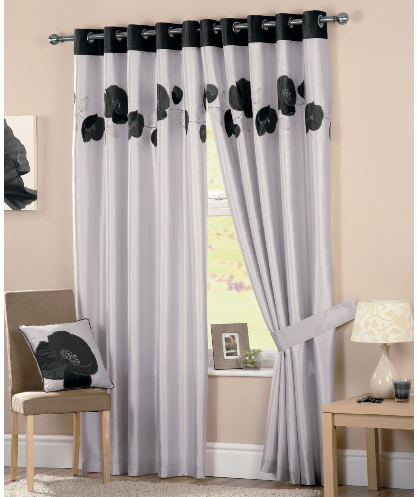 Buy Danielle Lined Eyelet Curtains 117x137cm Black At
