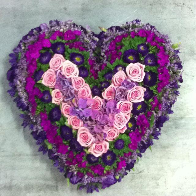 Hart in paars/roze tinten.