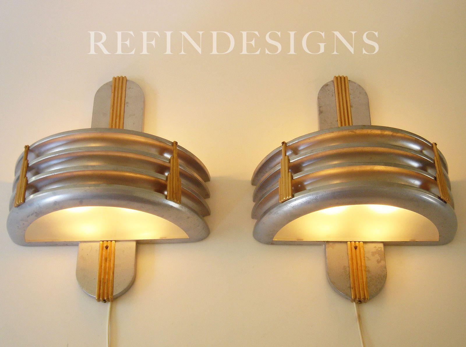 Walter Von Nessen Streamline Modern Art Deco LG Pair Torchiere Wall ...