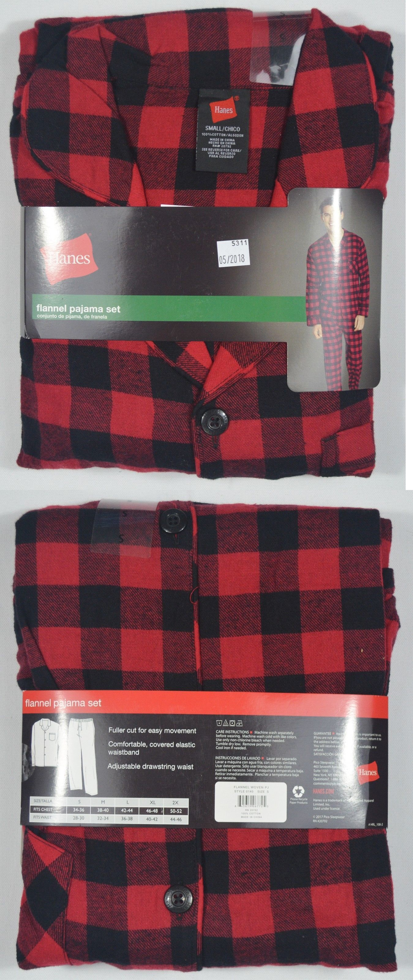 37114d137be Sleepwear and Robes 11510  Hanes  5311 New Men S Plaid 100% Cotton Flannel  Pajama Set -  BUY IT NOW ONLY   14.39 on  eBay  sleepwear  robes  hanes   plaid ...