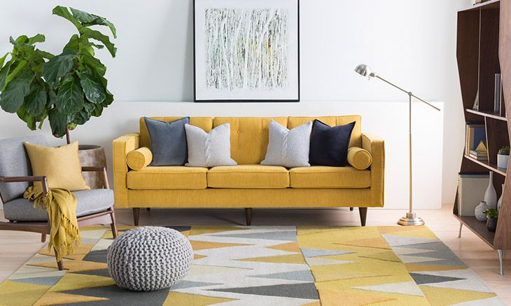 Spencer Yellow Rug Joybird With Images Yellow Living Room