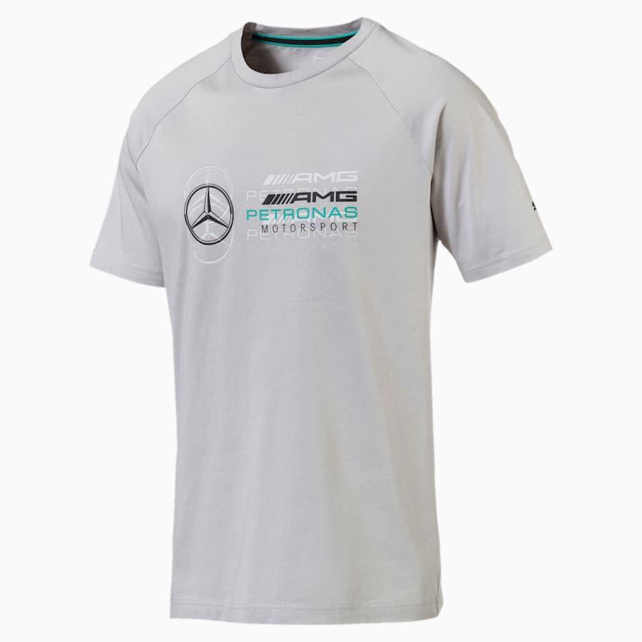 PUMA T Shirt MERCEDES AMG PETRONAS Logo pour Homme, Argent