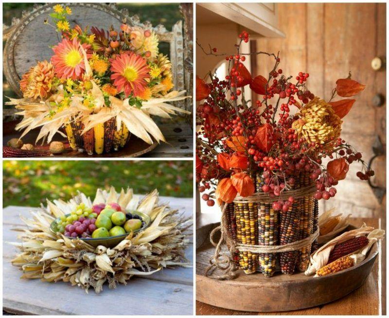 Herbstliche tischdeko mit maiskolben herbst basteln for Herbstschmuck basteln