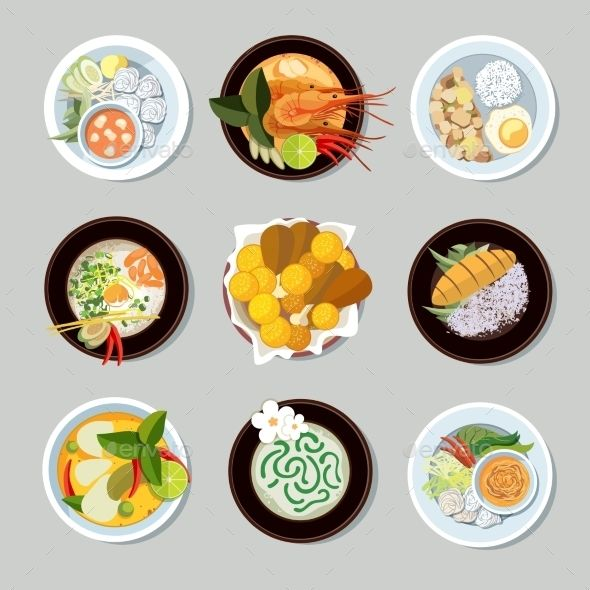 Thai Food Icons Set Shrimp And Traditional Restaurant Cooking And Menu Vector Illustration Food Icons Food Illustrations Thai Recipes
