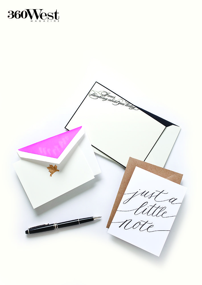 We love the idea of sending a handwritten note or letter, so personal and unexpected, 360 West Magazine, February 2014 #stationary #pstheletter #letters #hadwritten