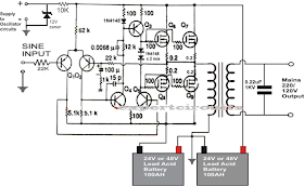 1kva 1000 watts pure sine wave inverter circuit electronics rh pinterest com