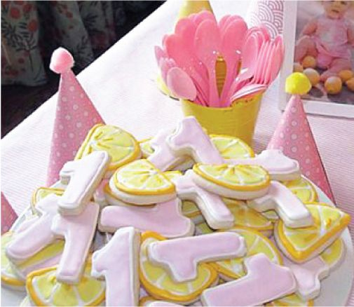 Pink lemonade birthday cookies