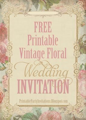 Free Printable Party Invitations Victorian Vintage Floral Wedding Template