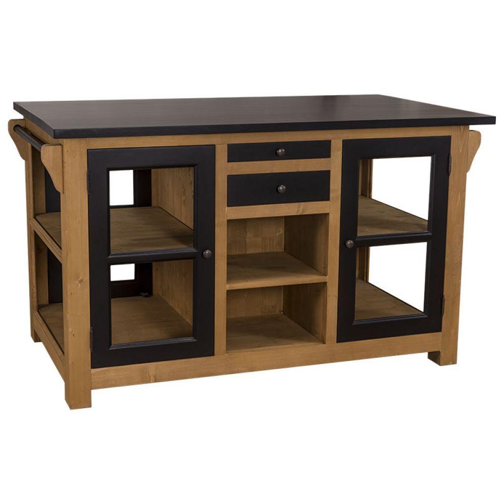 Kücheninsel aus Massivholz, Küchenmöbel im Landhausstil, Küche im ...