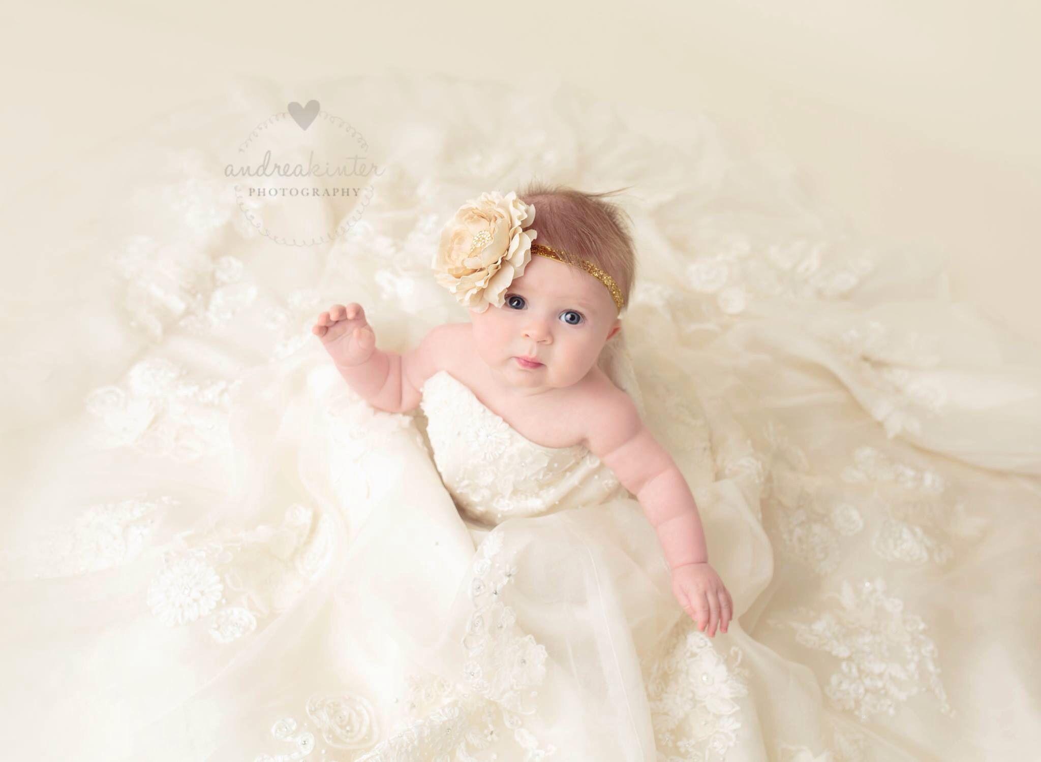 Baby Girl In Mom S Wedding Dress 3 Baby Wedding Outfit Girl Baby Girl Wedding Dress Old Wedding Dresses