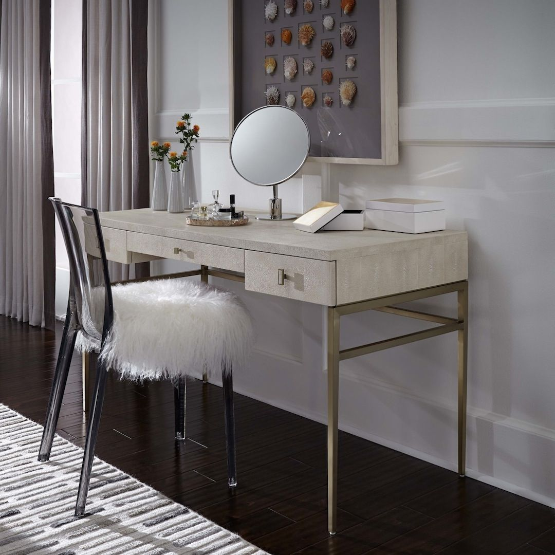 Solange desk/vanity in faux shagreen and champagne brass
