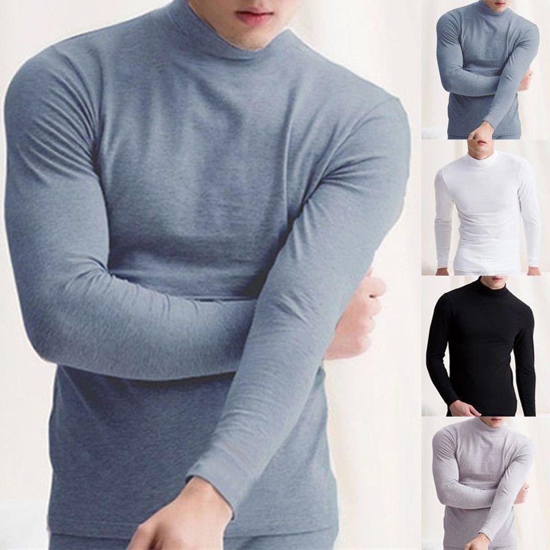 Men Winter Warm High Neck T-shirt Long Sleeve Turtleneck Jumper Undershirt Tops