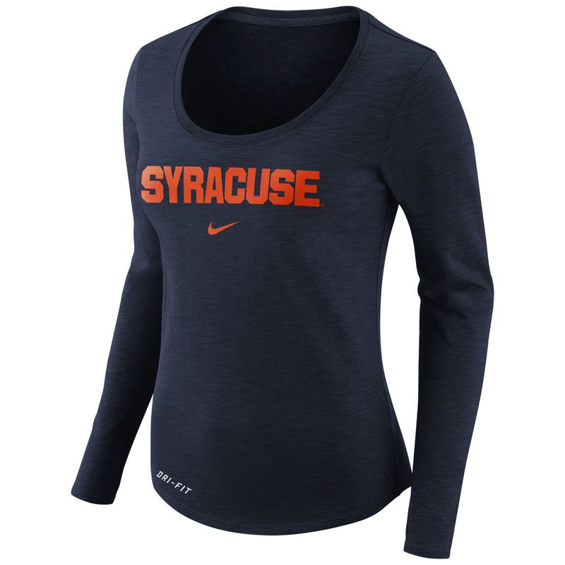 0deed2599c424 Women's Nike Heathered Navy Syracuse Orange Team Slub Long Sleeve  Performance T-Shirt