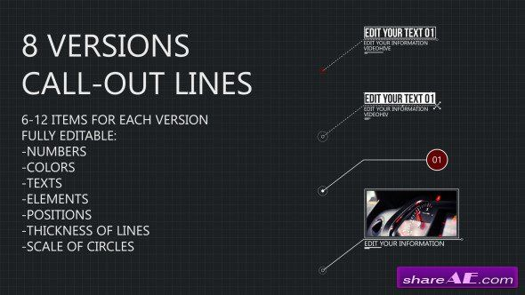 Videohive 8 Line Call Outs After Effects Project After Effect