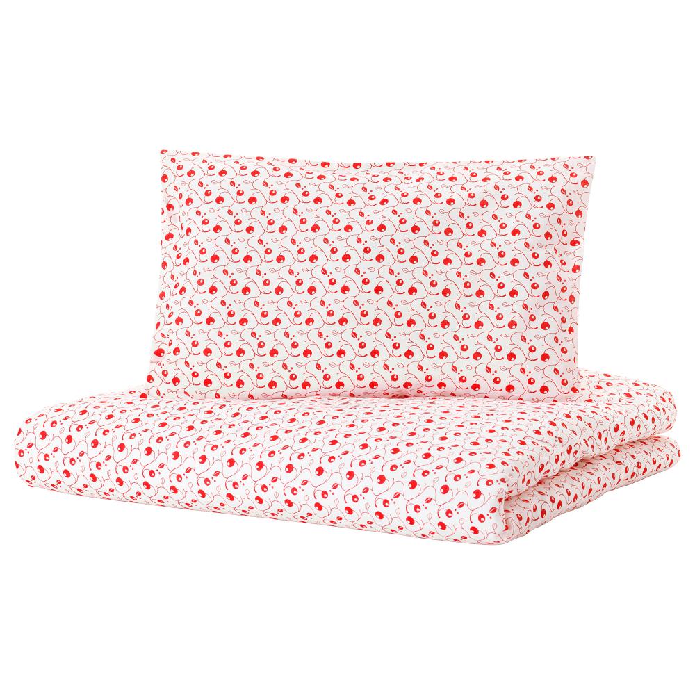 Gulsparv Crib Duvet Cover Pillowcase Lingonberry Patterned 43x49