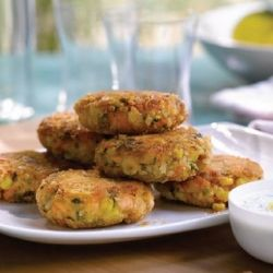 Salmon Cakes by Giada.  I like this the best of all my salmon cake/patty recipes.  For a sauce I used mayo mixed with peach jam.   Easy enough for a mid-week dinner and fancy enough for entertaining.
