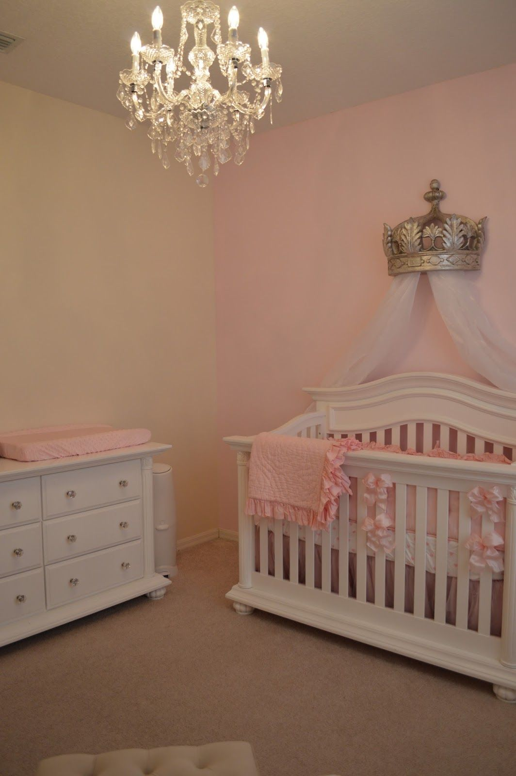 Baby cribs with canopy - The Sweet Little Southern Charm By Tara Miller Pink Nursery Baby Girl Crowns Pottery Barn Bedding
