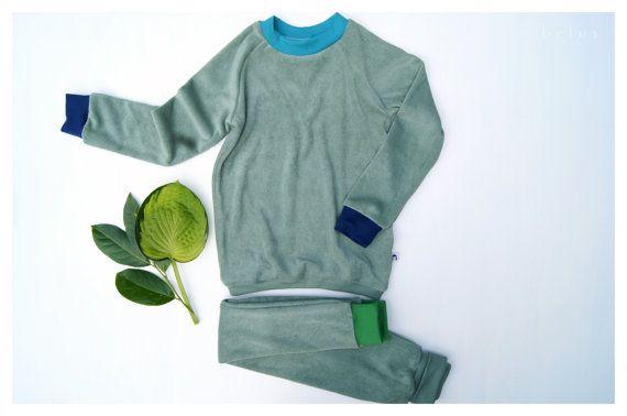 Bio Baumwolle Frottee Schlafanzug Grun Buntfrottee Etsy Clot