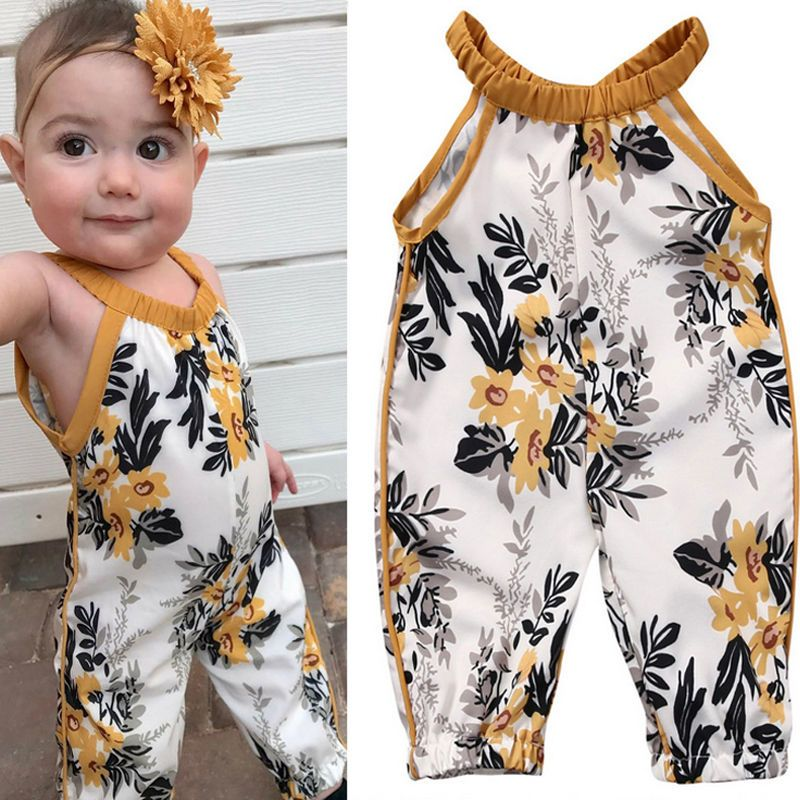 UK Toddler Baby Girls Clothes Strap Romper Jumpsuit Overalls Pants Outfit Summer