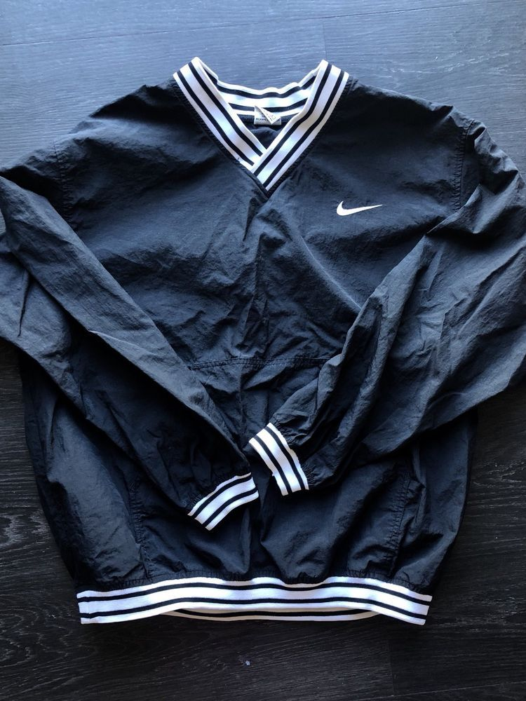 mens vintage jacket, 1980's black and white Nike logo