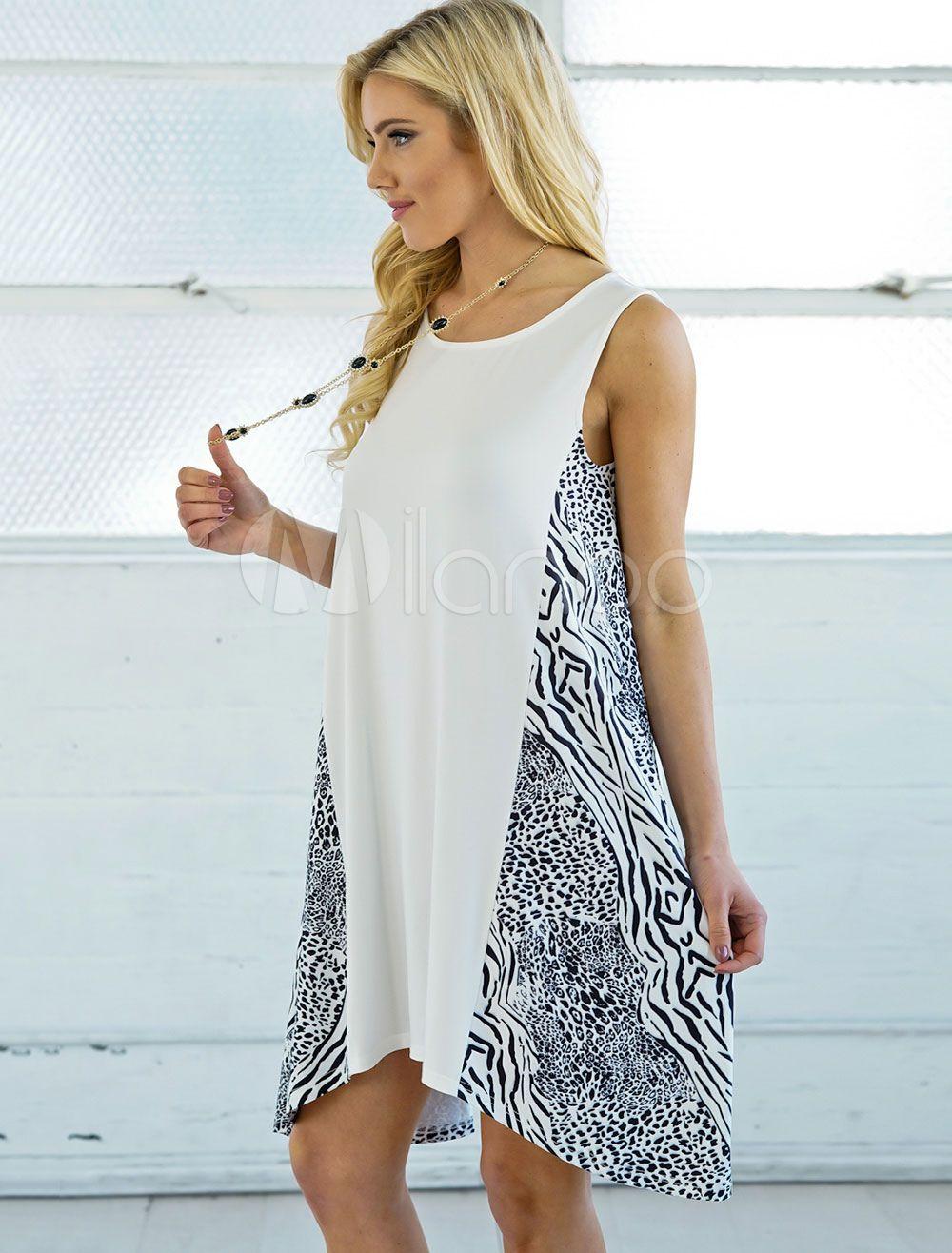 c7efa9b9682 White Summer Dress Sleeveless Round Neck Printed Irregular Midi Dress  Dress