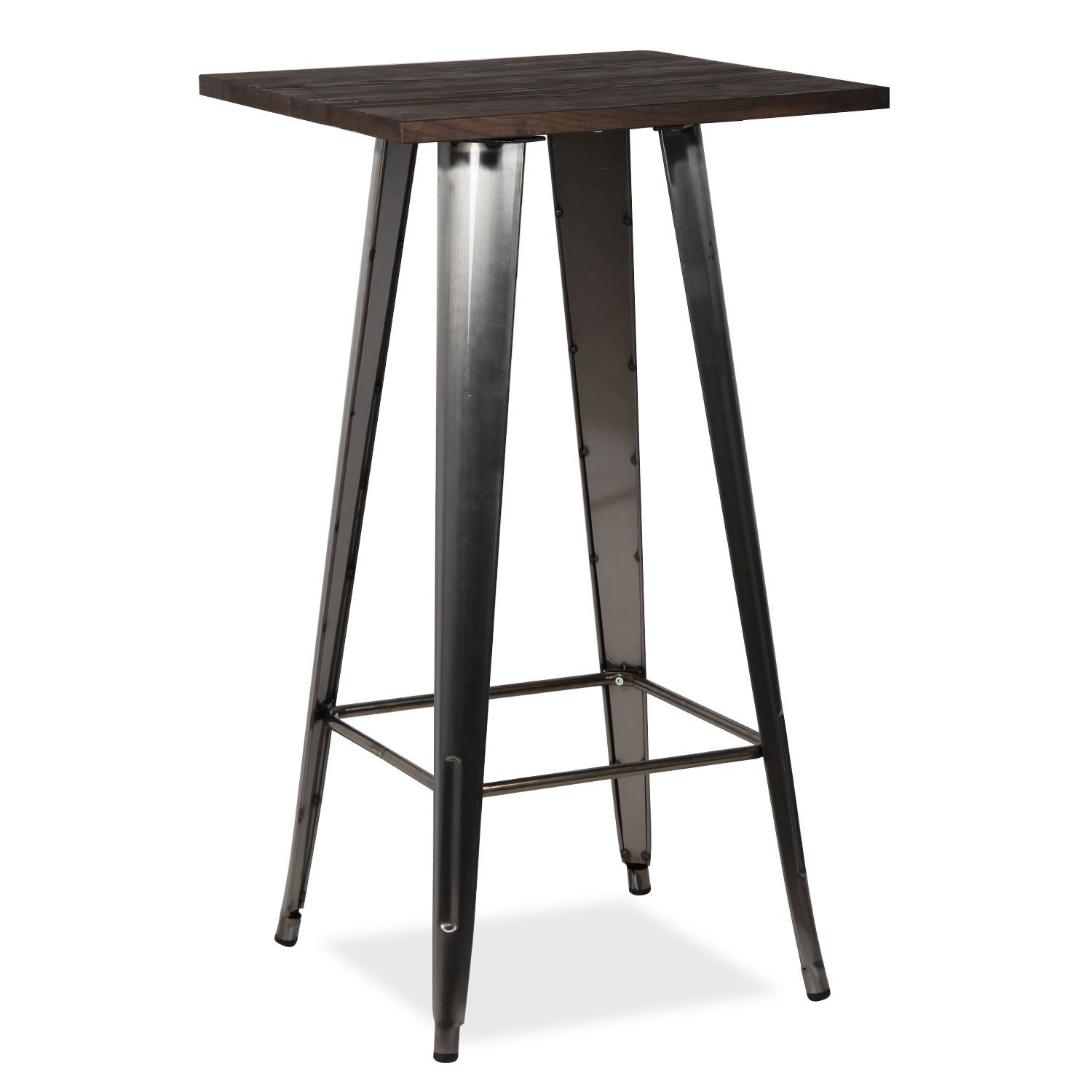 Bar Table Haute Table Haute Metal Ural 60x60 Sobre Madera Furniture High Bar