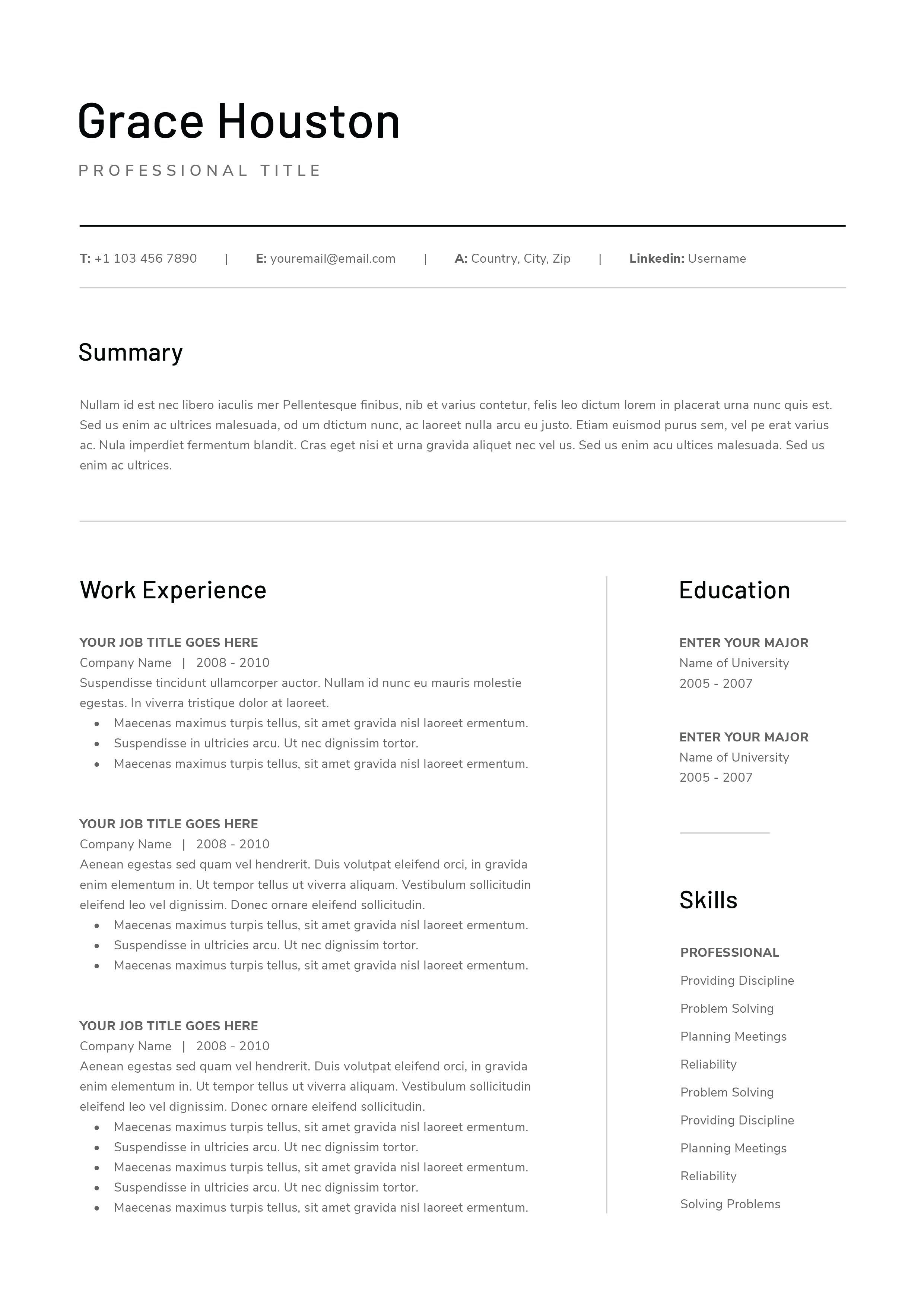 Free Resume With Cover Letter Templates With Images Cover