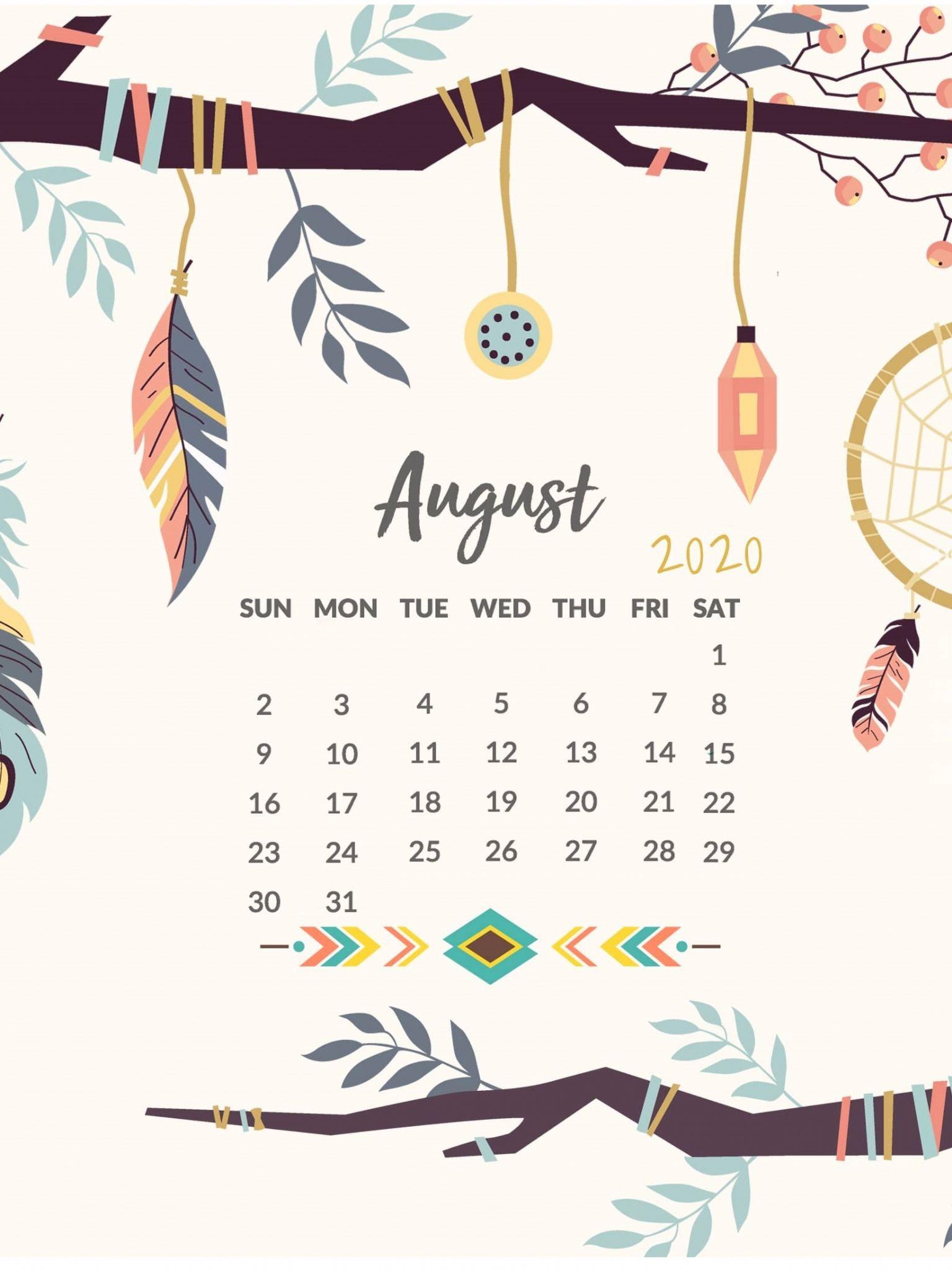 Free Printable August 2020 Desktop Calendar Wallpaper In 2020