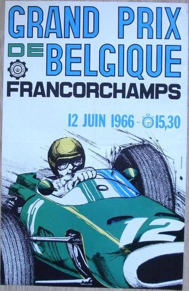 grand prix de belgique 12 juin 1966 affiches sport auto pinterest grand prix de. Black Bedroom Furniture Sets. Home Design Ideas