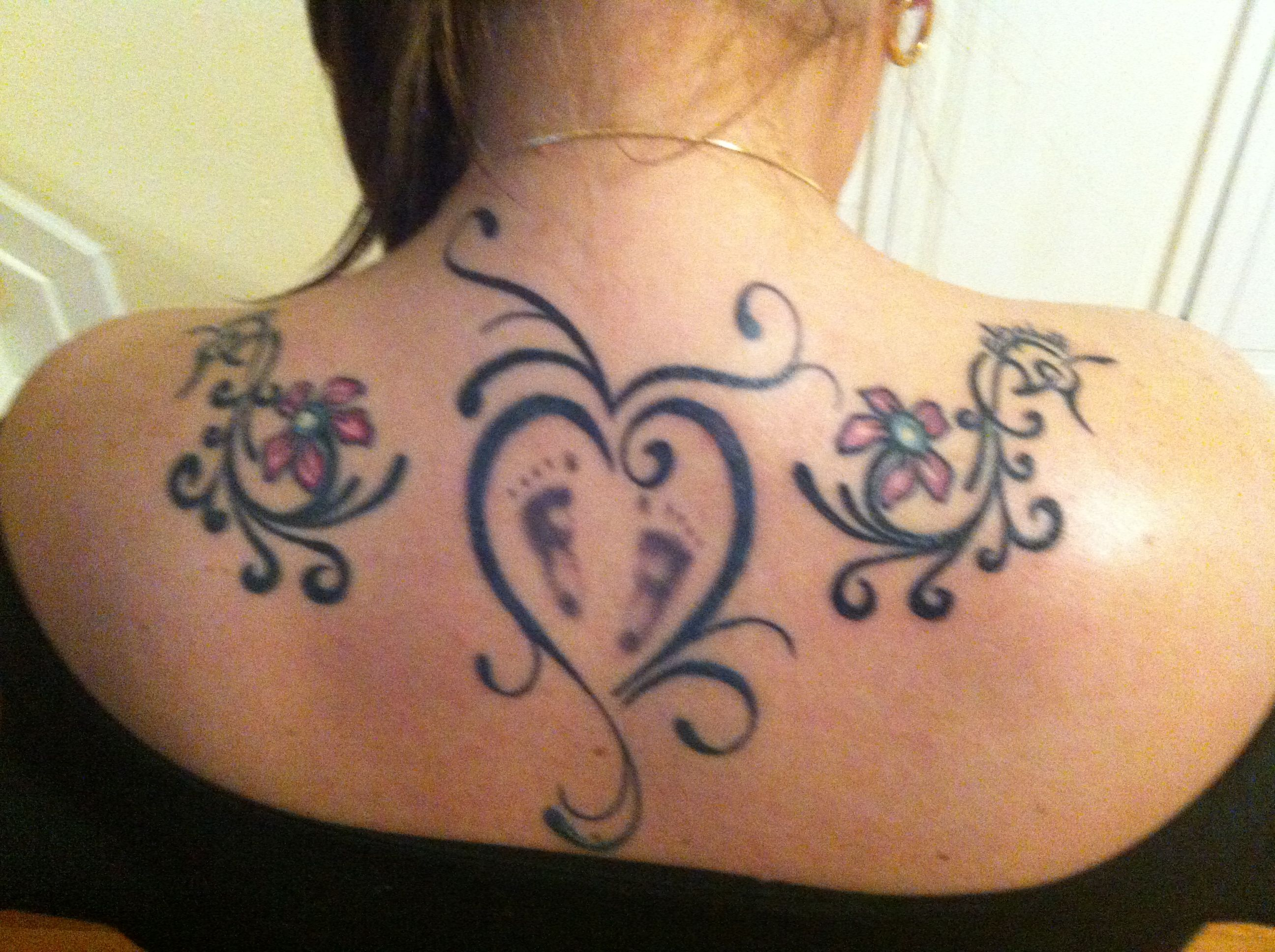 Baby Girls Footprint Back Tattoo The Tribal Flower Is A Matching
