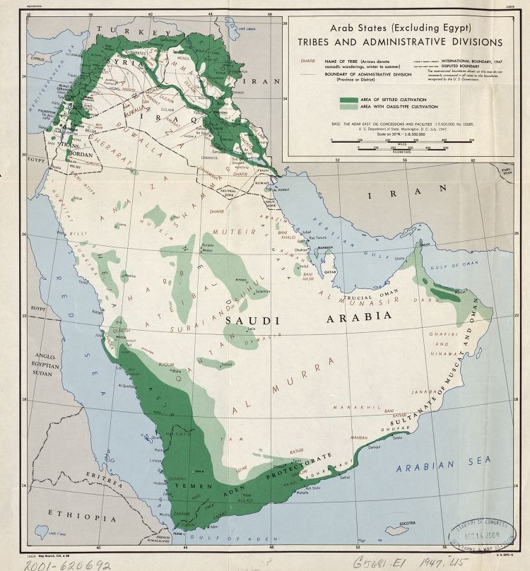 Arab states excluding Egypt Tribes and administrative divisions