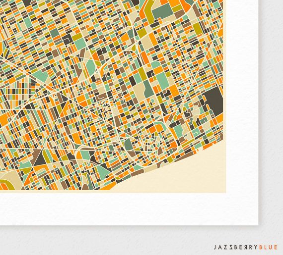 DETROIT Map Giclee Fine Art Print Modern Wall Art by JazzberryBlue ...