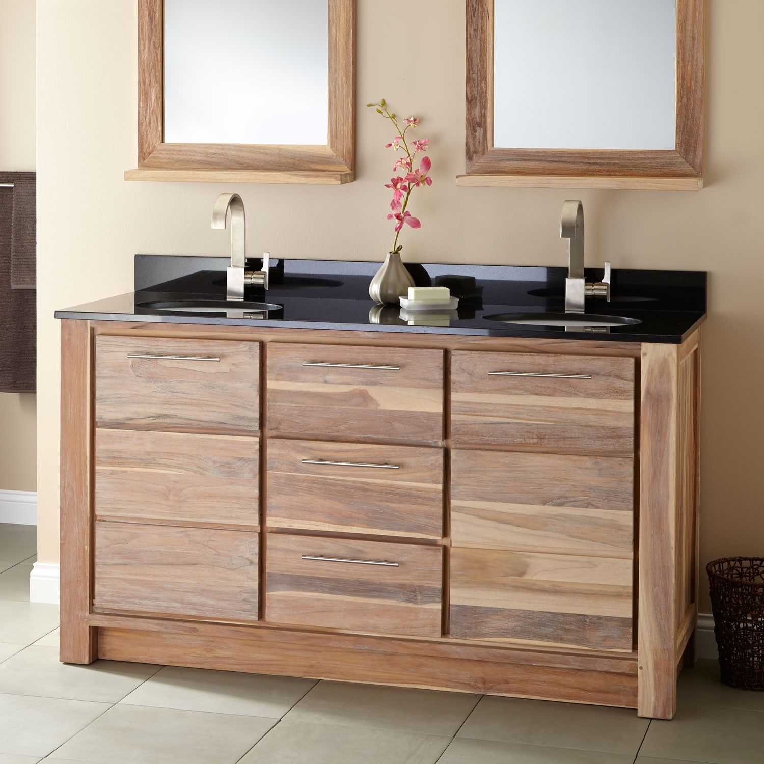 "60"" venica teak double vanity for undermount sinks - whitewash"