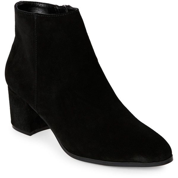 ffb657edaffc Franco Sarto Black Eos Block Heel Ankle Booties ( 70) ❤ liked on Polyvore  featuring shoes