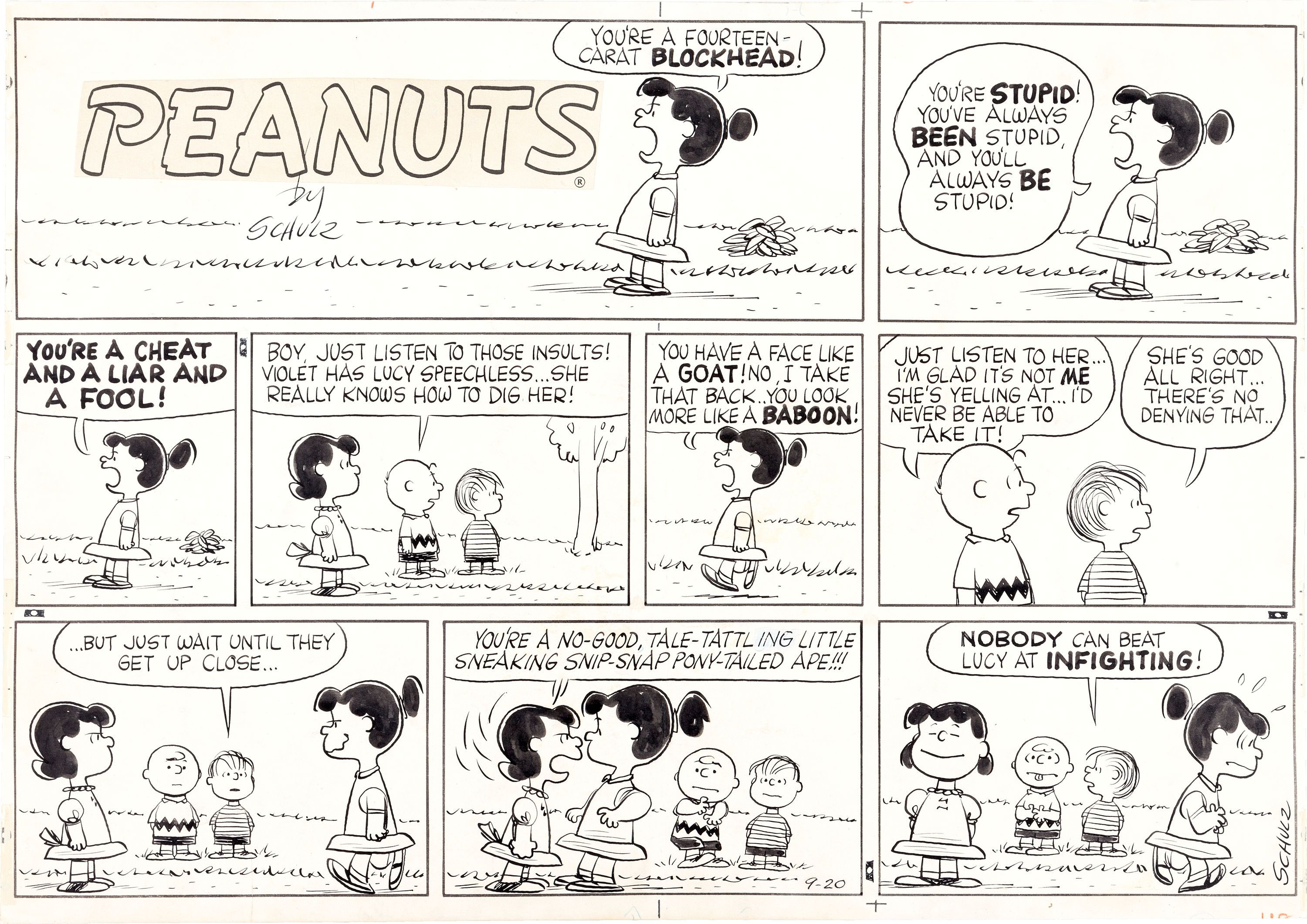 Daily peanuts comic strip september 1959